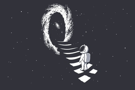 ein Astronaut klettert die Treppe ins Wurmloch - Portal zu einer anderen Dimension.Science-Fiction.Weltraumthema. Vektor-Illustration Vektorgrafik