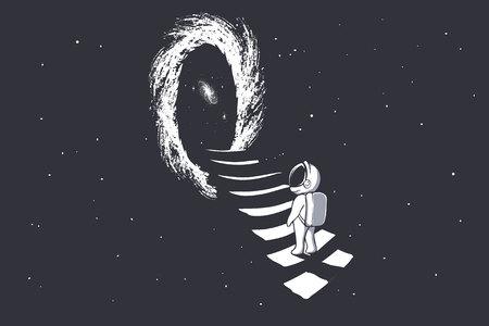 un astronaute monte les escaliers dans le trou de ver - portail vers une autre dimension.Science-fiction.Thème de l'espace. illustration vectorielle Vecteurs
