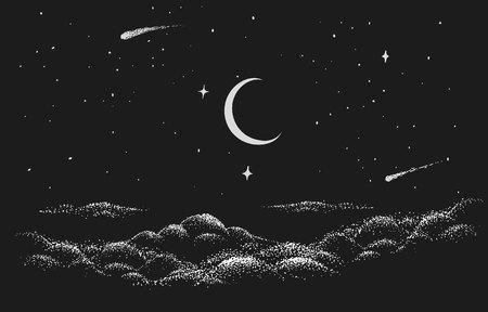 Blick zum Nachthimmel mit Wolken, Sternen und Mond. Vektorgrafik