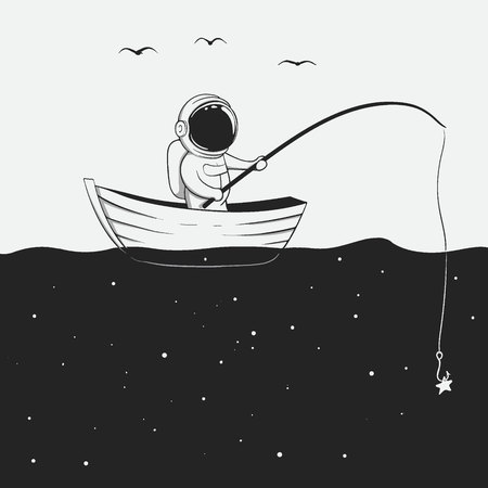 cosmonaut is fishing in the space sea. Vector illustration Stock Illustratie