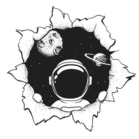 un astronauta nos mira a través del agujero. Estilo artesanal. Ilustración vectorial