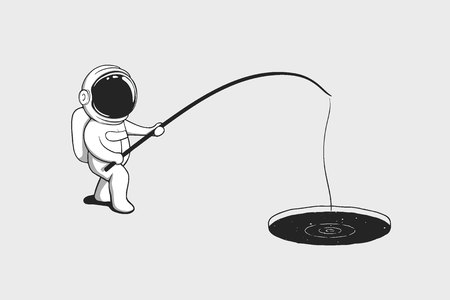 Baby astronaut fishing in the ice hole with space. Cartoon style. Vector illustration  イラスト・ベクター素材