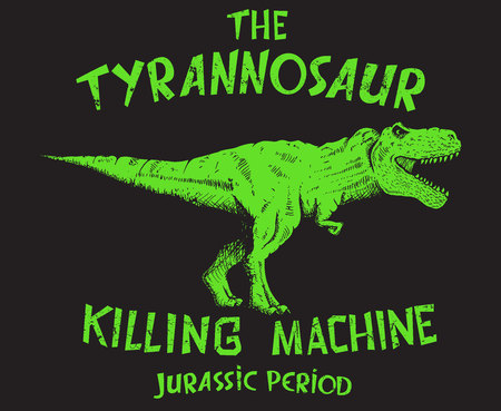 The tyranosaur.Graphic prints design for t-shirts or other apparel Vectores