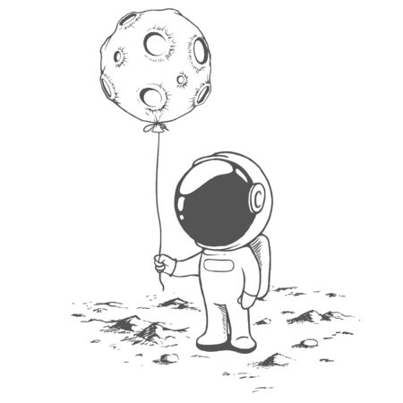 Cute astronaut keeps a balloon like Moon.Hand drawn style.Space vector illustration Ilustração