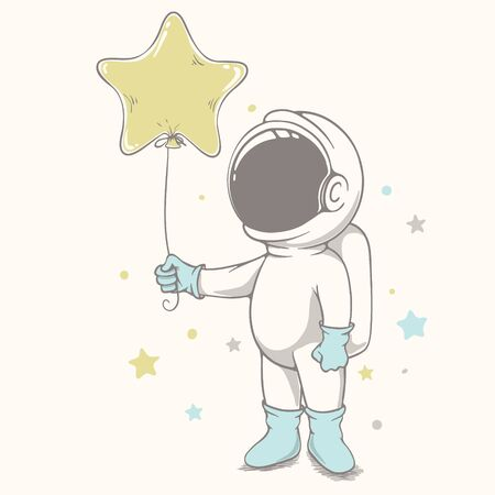 baby astronaut holds a balloon