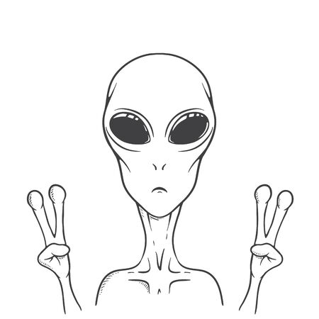 The alien shows peace sign