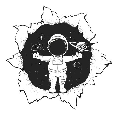 The astronaut welcomes us to space from hole . Vector illustration