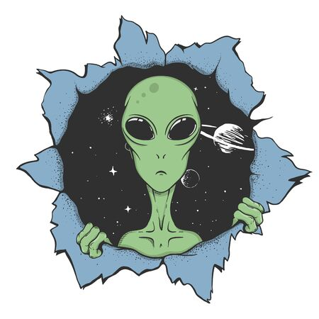 alien looking to us from the hole of space. Vector illustration.Color version