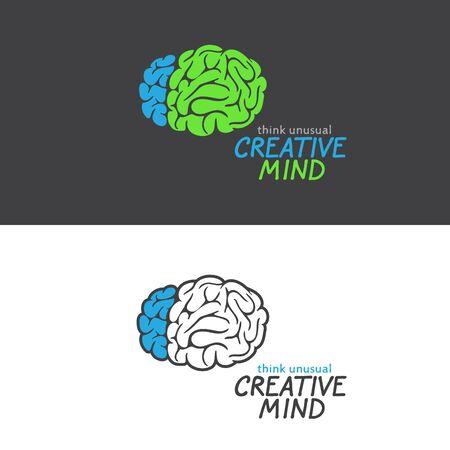 Brain logo on black and white background