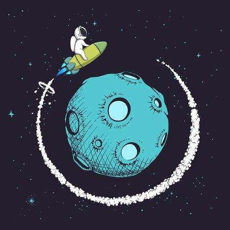 astronaut flying around orbit of planet.Cute baby spaceman playing in space.Mission to explore the Moon.Vector illustration