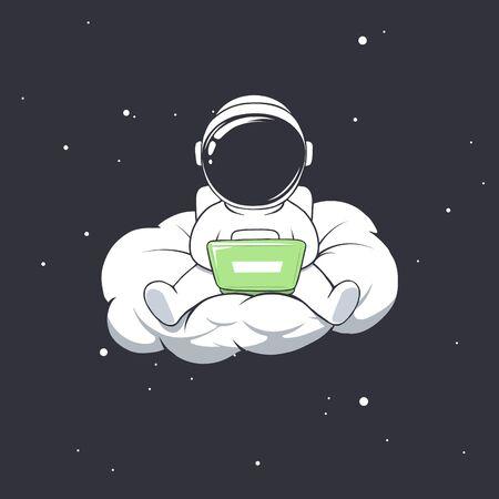 astronaut work in freelance on cloud