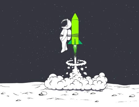 rocket launch with astronaut