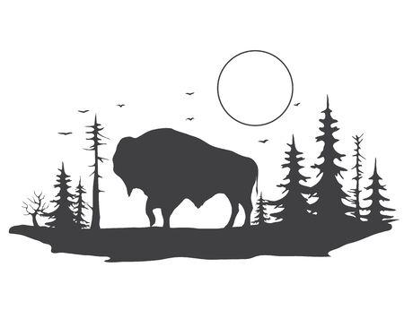 bull in forest Illusztráció