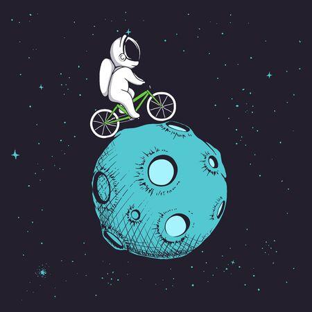 astronaut rides uround Moon Ilustração
