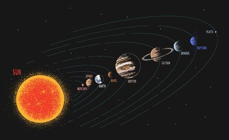 Solar system.Parade of planets.Hand drawn style.Space design.Color version.Vector illustration