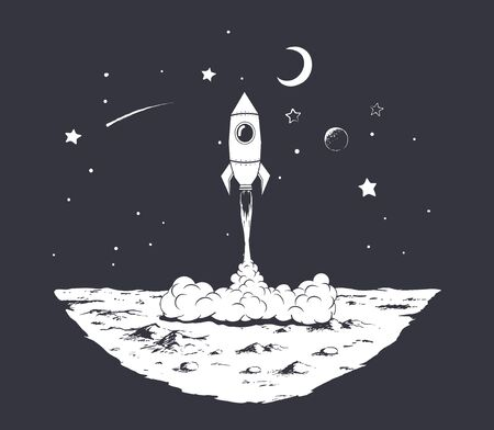 rocket launch from planet.Black and white version