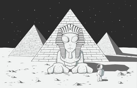 Astronaut found another alien civilization on mysterious planet .He saw there an alien sphinx and many pyramids.Vector illustration Ilustração