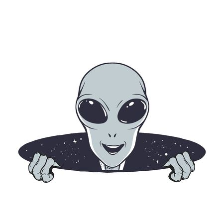 Happy alien peeps out from the hole of space Vectores