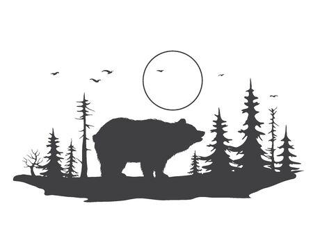 bear in forest Illusztráció