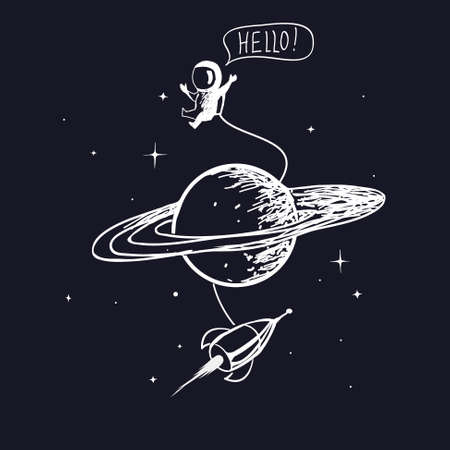 astronaut with spaceship and saturn