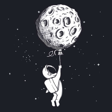 Astronaut holding on to the moon and flies to space.Vector illustration