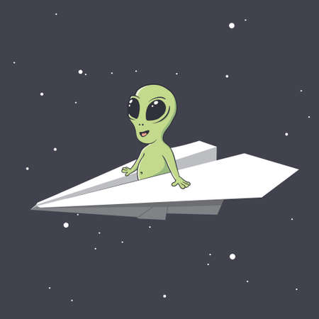 an alien flies on a paper airplane