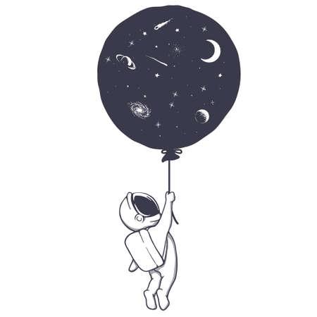 Astronaut and space balloon Illustration
