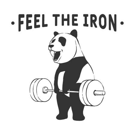 Strong panda lifting the barbell.Printable design.Vector illustration