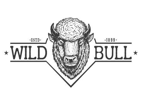 Wild bull.Printable design .Vector illustration 矢量图像