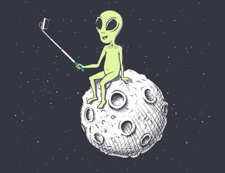 Alien makes selfie on Moon