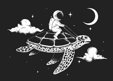 astronaut flying on a turtle at the night