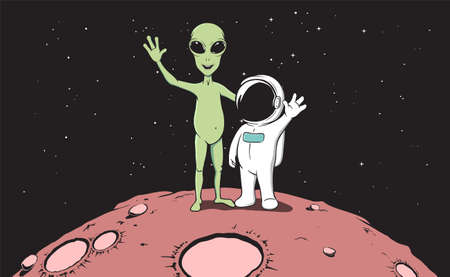 Friendship of astronaut and alien.Color version