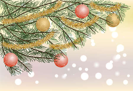 Christmas tree branch with beautiful colored decorations on blurred background with bokeh, flat vector illustration