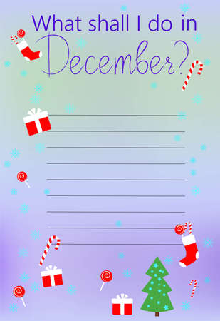 To do list, wish list or planning concept. Paper sheets with lines. What shall I do sign. December. Vector flat illustration isolated on blurred background