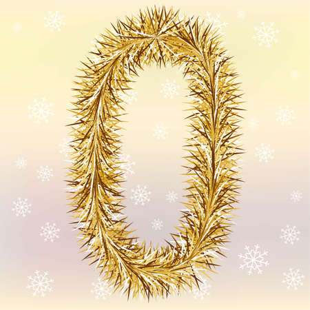 Christmas lettering Letter O with a fur or tinsel text effect over yellow and pink blurred background Simple flat vector illustration