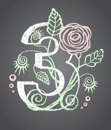 Floral numeral three for your design. Vector illustration