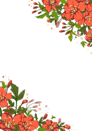 Vector vertical botanical banner with hand-drawn flowers in bright colors on white background. Illustration