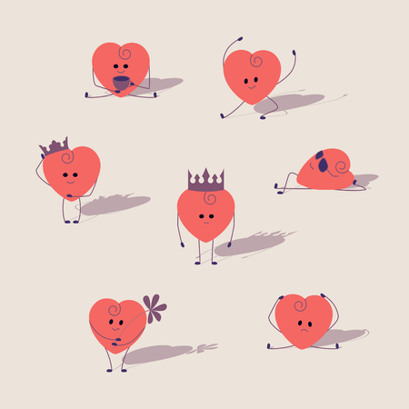king and queen of hearts: Set of pink hearts. Cartoon hearts with different expressions stylized drawing hands. Heart king, queen, sunbathing, sick, dancing, drinking tea, with flower