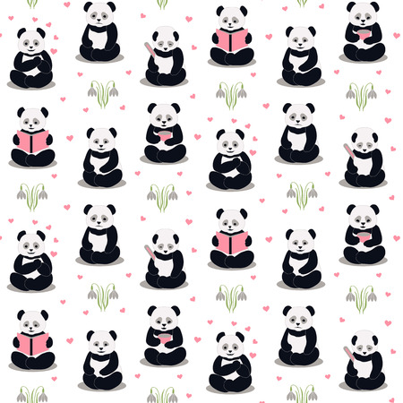 cartoon panda: Happy, sad, sick, love, reading pandas on a whight background. Cartoon pandas with different expressions stylized drawing hands.