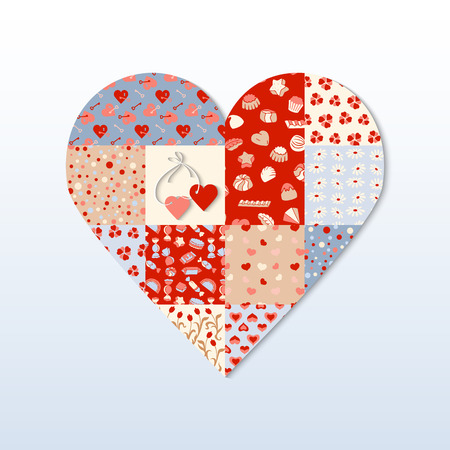 pink cell: Red hearts different patterns. Heart shape on a light background. Blue, beige, pink cell with different repeats hearts. Illustration