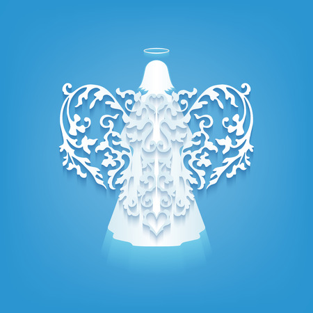 angel white: Vector white angel with wings on a blue background. Beautiful applique. Abstract design. Vector illustration.