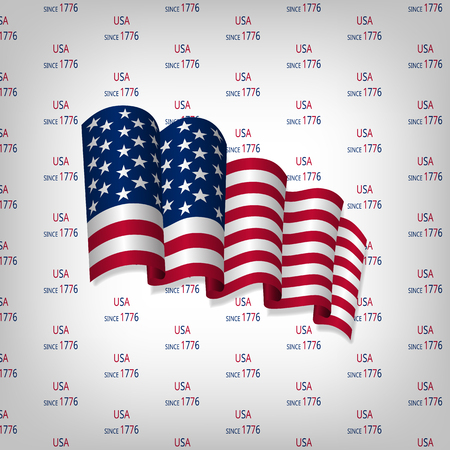 Independence day card with US flag on a light background with text.