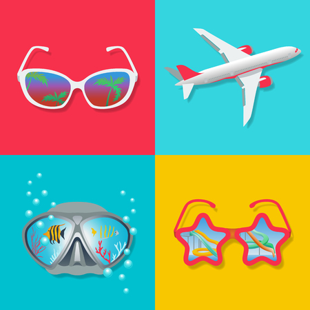 Set summer icons on a theme of rest. Diving, travel, vacation