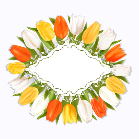 bunch flowers: Realistic tulips with shadow on light background. White, red and yellow flowers.The template for the congratulations for the various greetings.