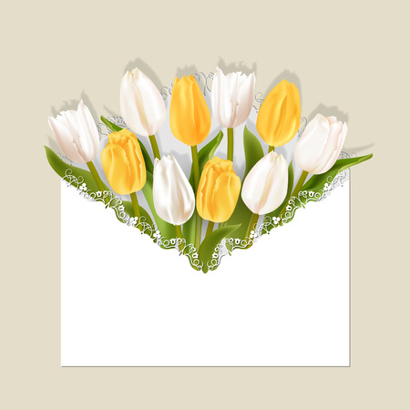 Realistic tulips with shadow on bright background. White and yellow flowers in openwork white envelope. Greeting card with place for greeting text for any holiday.