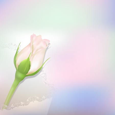 Realistic rose with shadow on bright background. Whiterosebud in openwork white envelope. Greeting card with place for greeting text for any holiday. Mothers day card.
