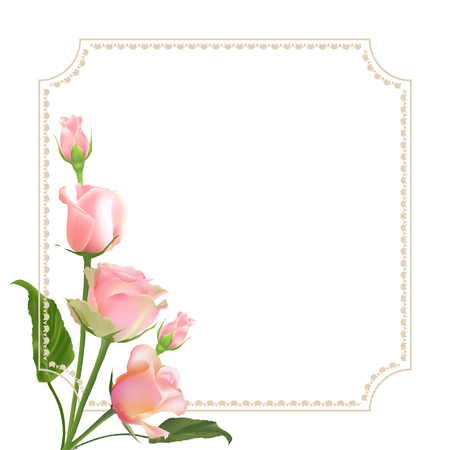 Realistic vector roses on white background with border. Greeting card with place for greeting text for any holiday. Mothers day card.