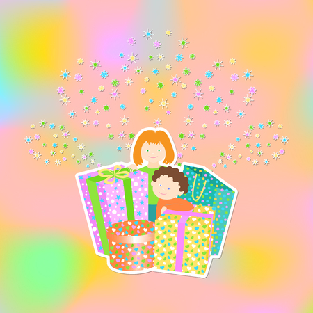 comfits: Greeting card with boy, girl and gifts