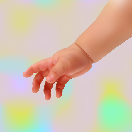 mothering: realistic baby hand on a light background