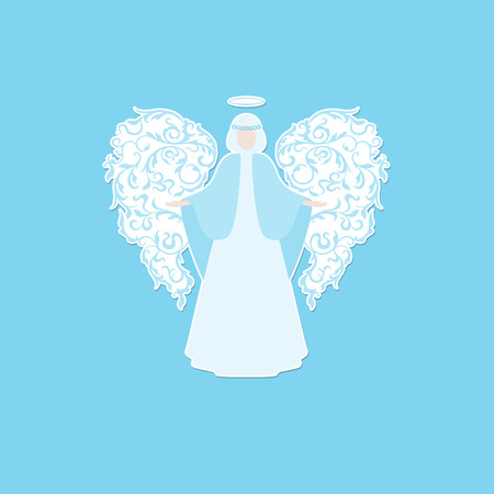 nimbus: Angel with ornamental floral white wings and glowing nimbus on a blue background. Beautiful applique. Abstract design.